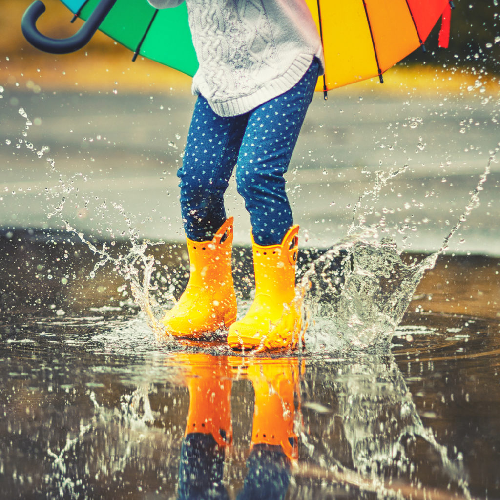 Joy with puddle stomping