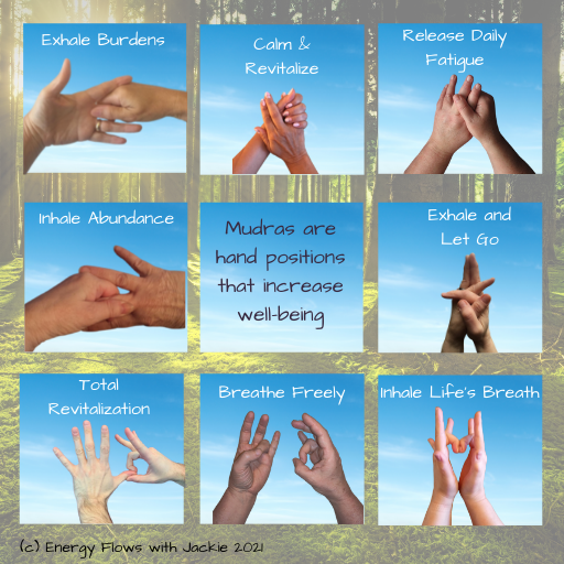 Illustration of the self care with JSJ mudra hand positions and their uses.